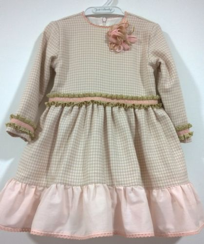 *SALE* Stunning Infant Girl Spanish Pink Beige Checked Long Sleeve Dress
